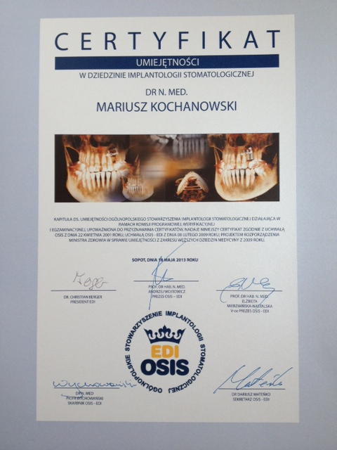 Internationales Zeugnis über die Fähigkeiten Implantat EDI-OSIS ...